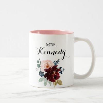 Watercolor Illustrated Fall Mrs Newlywed Bride Two-Tone Coffee Mug
