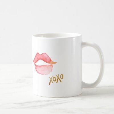 Watercolor Lips & Gold Foil XOXO Coffee Mug