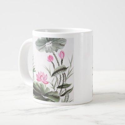 Watercolor Painting Of Lotus Flower Large Coffee Mug