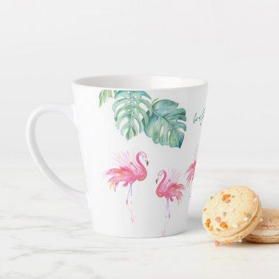 Watercolor Pink Flamingo Latte Mug