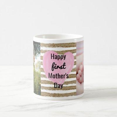 Watercolor Pink Heart Gold Photo 1st Mother's Day Coffee Mug