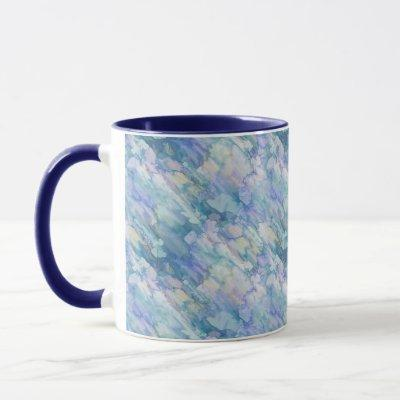 Watercolor Retro Blue Purple Raindrop Pattern Mug
