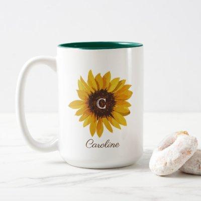 Watercolor Sunflower Monogram Name Two-Tone Coffee Mug