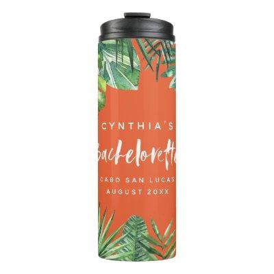 Watercolor tropical leaf bachelorette party thermal tumbler