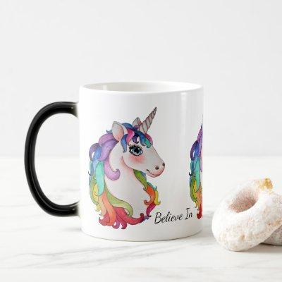 Watercolor Unicorn With Rainbow Hair Magic Mug