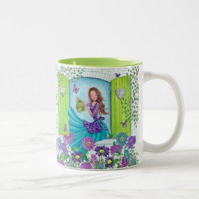 Wattering Flowers Garden Girl   Cute Mug