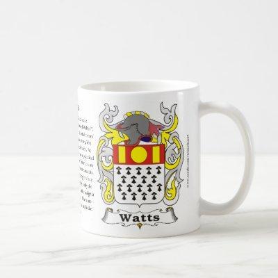 Watts Family Coat of Arms Mug
