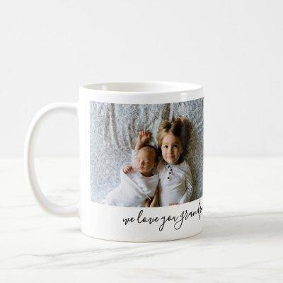 We Love You Grandpa 2 Photo Personalized Mugs