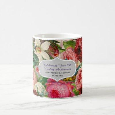 Wedding Anniversary - Vintage Roses Floral Custom Coffee Mug