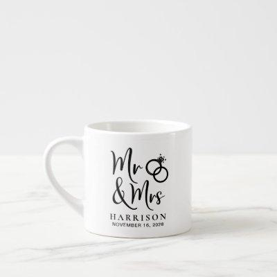 Wedding Favor Mr Mrs Espresso Cup