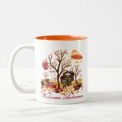 Welcome Autumn Fall Scenery Two-Tone Coffee Mug