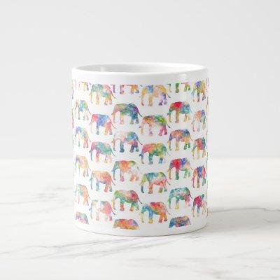 Whimsical Cute Watercolor Elephants Pattern Large Coffee Mug