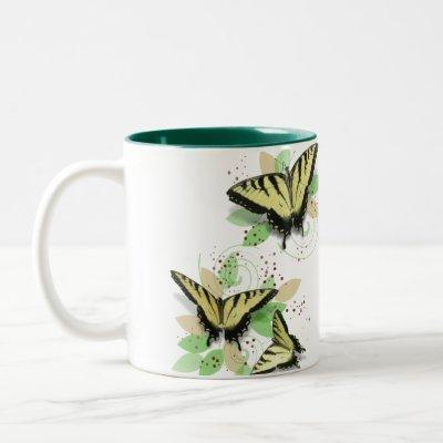 Whimsical Tiger Swallowtail Butterflies Two-Tone Coffee Mug