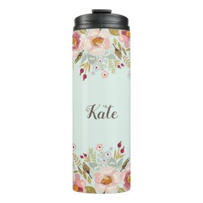 Whimsy Floral Personalized Name Thermal Tumbler