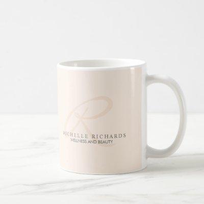 Whisper Pink Elegant Minimalist Monogram Coffee Mug
