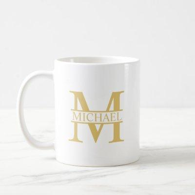 White and Gold Personalized Monogram and Name Coffee Mug
