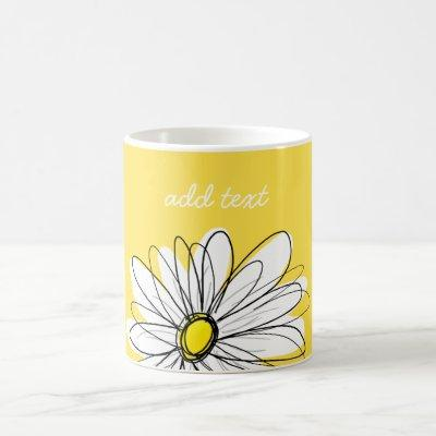 White and Yellow Whimsical Daisy Custom Text Coffee Mug