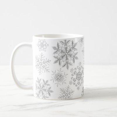 White Crystalline Snowflakes Mug
