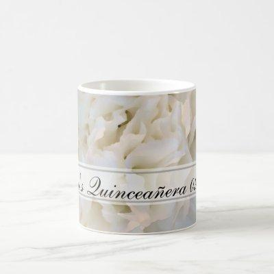 White Floral Quinceañera Coffee Mug