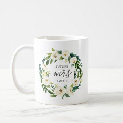 White Flower and Green Wedding Party Mug - Mrs
