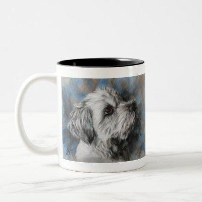 White Maltese/Shih Tzu fluffy dog Two-Tone Coffee Mug