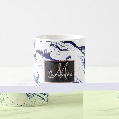 White marble blue ombre navy blue watercolor coffee mug