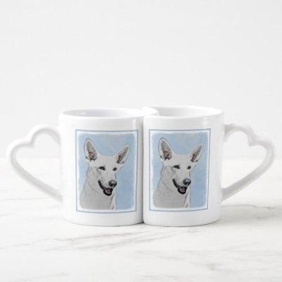 White Shepherd Painting - Cute Original Dog Art Coffee Mug Set