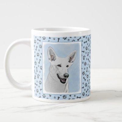 White Shepherd Painting - Cute Original Dog Art Giant Coffee Mug