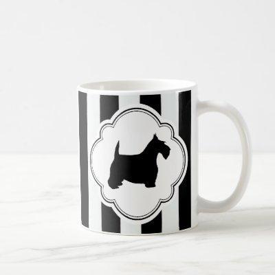 White Stripe Black Scottie Coffee Mug