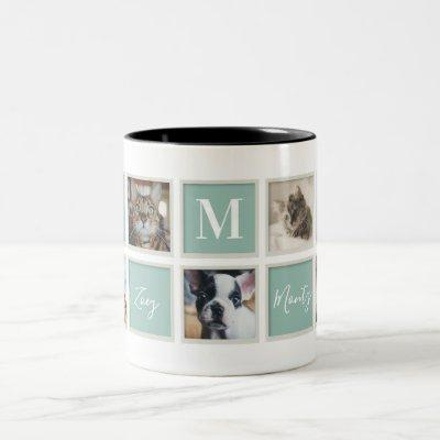 White Vintage Frame Pet Mom Monogram and Photo Two-Tone Coffee Mug