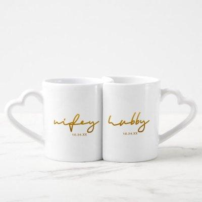 Wifey and Hubby Typography with Wedding Date Coffee Mug Set