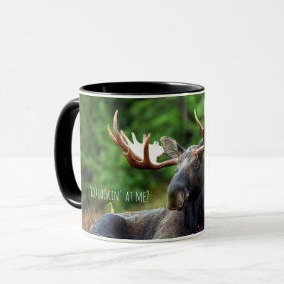 Wild Moose on Hill with Attitude in Forest Photo Mug