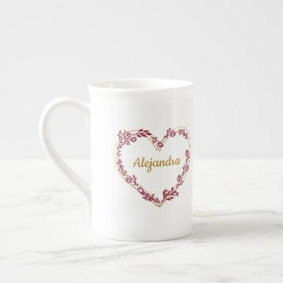 Wildflowers Heart in Red and Gold for Wedding Bone China Mug