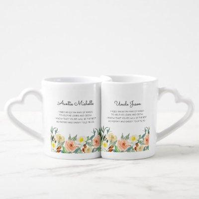 Will You Be My Godmother Godfather Peach Flowers Coffee Mug Set