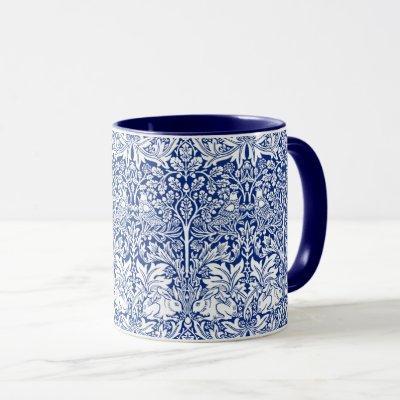 William Morris Brother Rabbit Blue Vintage Pattern Mug