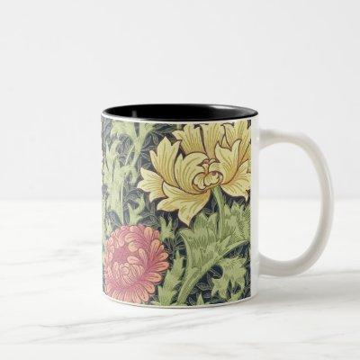 William Morris Chrysanthemum Vintage Floral Art Two-Tone Coffee Mug