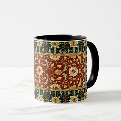 William Morris Floral Design Red Gold Deep Blue Mug