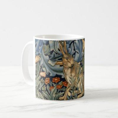 William Morris Forest Rabbit Floral Art Nouveau Coffee Mug
