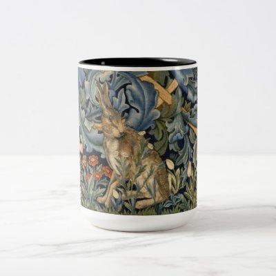 William Morris Forest Rabbit Floral Art Nouveau Two-Tone Coffee Mug