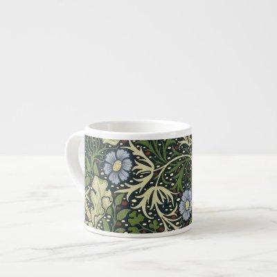 William Morris Seaweed Pattern Floral Vintage Art Espresso Cup