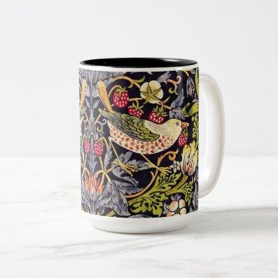 William Morris Strawberry Thief Floral Art Nouveau Two-Tone Coffee Mug
