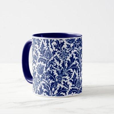 William Morris Thistle Damask, Cobalt Blue & White Mug