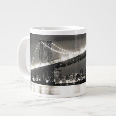 Williamsburg bridge in New York City at night Large Coffee Mug