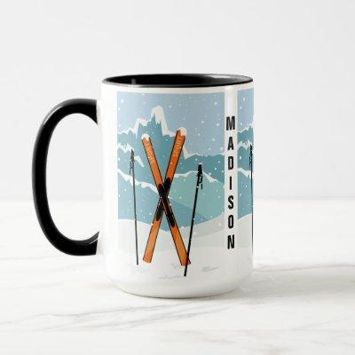 Winter Skiing custom name mugs