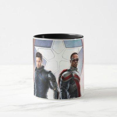 Winter Soldier & The Falcon in Front of Shield Mug