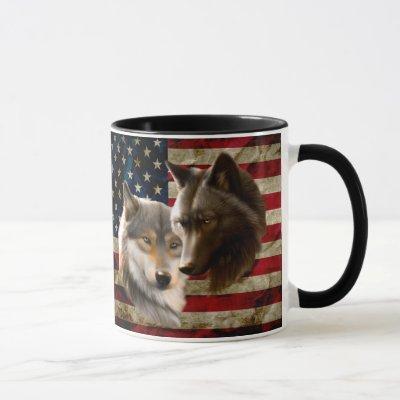 Wolves  American Flag Mug