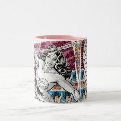 Wonder Woman Collage 5 Two-Tone Coffee Mug