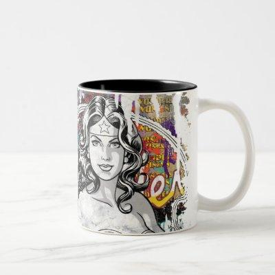 Wonder Woman Collage 6 Two-Tone Coffee Mug