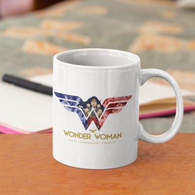 Wonder Woman Crossed Arms in Logo Collage Mug