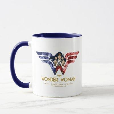 Wonder Woman Crossed Arms in Logo Collage Mug